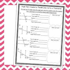 parallel lines cut by a transversal notes and worksheets tpt