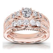 Wedding Rings Rose Gold by Antique Rose Wedding Ring Set Jewelocean Com