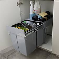 bac poubelle cuisine poubelle de meuble coloris gris 2 bacs 20l cooke lewis scala