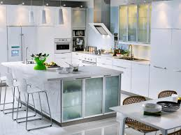 profuse large square kitchen island with frosted glass door