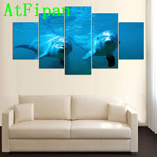compare prices on dolphin posters online shopping buy low price atfipan home decor poster no frame modular picture 5 panel animal dolphins canvas painting modern wall