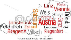 austria map vector austria map and words cloud with larger cities vector clip