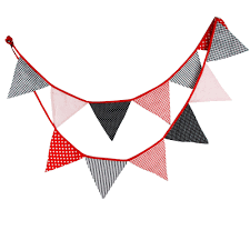 Baby Flag 1pcs 3 3m 12flags Black Stripe Red Dot Baby Party Wedding Shooting