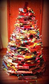 Christmas Tree Made Of Christmas Lights - 20 bookish christmas trees to get you in the holiday spirit