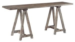 Sofa Console Tables by Signature Design By Ashley Vennilux Sawhorse Console In Driftwood
