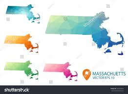 Massachusetts Maps Set Vector Polygonal Massachusetts State Maps Stock Vector