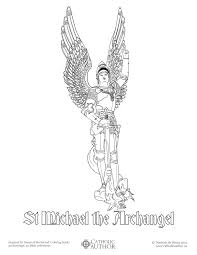 st michael the archangel free hand drawn catholic coloring