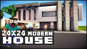 Modern Houes Minecraft House Tutorial 24x24 Modern House Minecraft