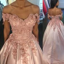 off shoulder sweetheart satin ball gowns prom dress with lace