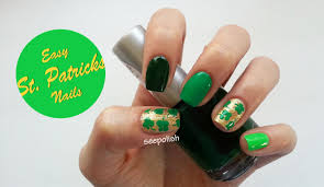 easy beginner nail art green u0026 gold clovers st patrick u0027s day