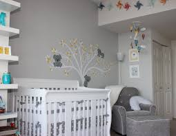 foxy baby nursery room decorating using light gray baby room wall
