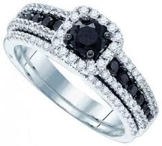 black diamond bridal set 10k white gold 1 00 ctw white and black diamond ring diamond