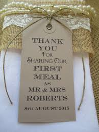 100 wedding napkin ties wedding table decor tags personalized