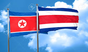 Costa Rico Flag North Korea Flag With Costa Rica Flag 3d Rendering Stock Photo