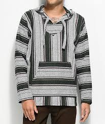 baja sweater senor small stripe cluster grey poncho zumiez