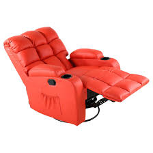 Red Leather Reclining Chair Recliner Furniture 64 Orange Leather Recliner Chair Charming