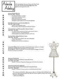 resume for fashion job resume ideas