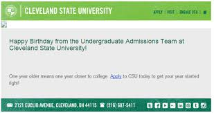 best practices and examples of birthday emails from colleges and