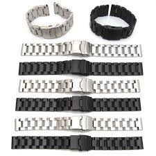 black strap bracelet images Mens watch strap bracelet stainless steel band deployment clasp jpg