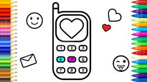 draw baby mobile phone with buttons and numbers coloring pages