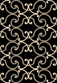 Frieze Area Rug Infinity Frieze Black Area Rug With White And Gold Crescents Briers