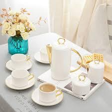 Coffee Set 11 pcs luxury modern gold ceramic bone china tea coffee sets 1