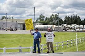 pair of protesters demonstrate against sen braun in front of his