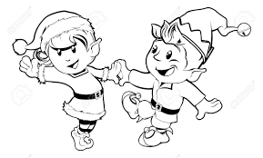 black and white illustration of boy and christmas elves
