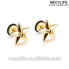 anting emas 24 karat mecylife bintang perhiasan stainless steel bintang tengkorak