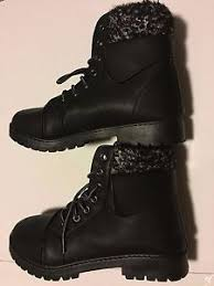 womens boots size 8 9 ebay black ankle lace up faux fur fall winter cozy womens boots size l