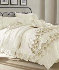 bedroom awesome white ruffle bedding with wrought iron headboard