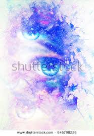 woman eye cosmic space stars music stock illustration 371195909
