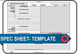 specification sheet template
