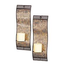 Mosaic Wall Sconce Kingsway Rich Mixed Metallic Mosaic Waved Wall Sconces Set Of 2