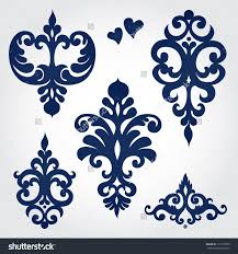 vector set with baroque ornaments in style ornate element