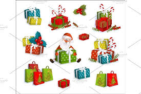 christmas present boxes christmas gifts present boxes and santa claus objects