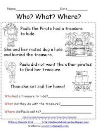 pirates who what where reading comprehension cut and paste
