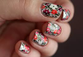 spring to summer floral neon pastel nail art with china glaze
