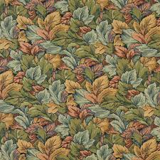 Tapestry Fabrics Upholstery Coral And Gold Woven Foliage Tapestry Upholstery Fabric