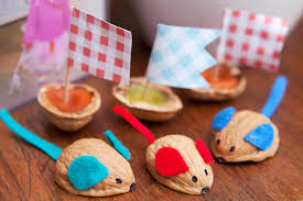 learn with play at home racing walnut mice kids craft from red