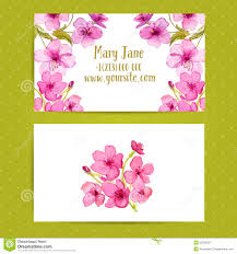 business card template with watercolor flowers of stock vector