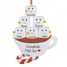 six grandkids marshmallows in chocolate ornament