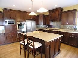 kitchen island with range charming wood tile floor dark wooden cabinet gas range white