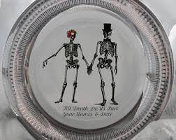 and groom plates blue or green sugar skull groom wedding plate