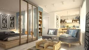 studio room divider ideas with sofa and bedroom and bookshelf