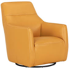 Swivel Chair Leather by City Furniture Izzy Yellow Leather Swivel Accent Chair