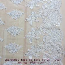 embroidered cord bridal lace fabric for wedding dress