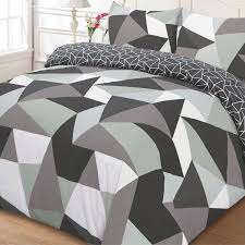 just contempo geometric duvet cover set single grey amazon co