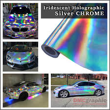 holographic car silver iridescent holographic laser cut neon chrome chameleon