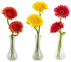 Small Vase Flower Arrangements Nearly Natural Gerber Daisies With Bud Vases 3 Piece Set